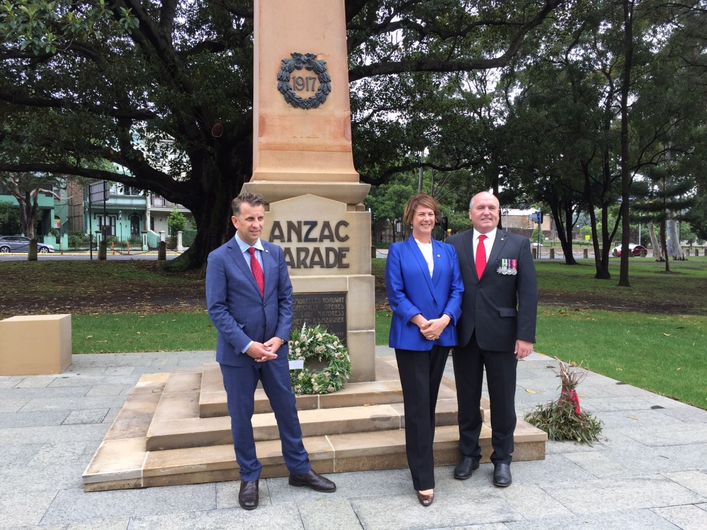 Minister for Transport and Infrastructure, Andrew Constance MP, Minister for Roads, Maritime and Freight, Melinda Pavey MP and Minister for Veteran's Affairs, David Elliott MP at the ANZAC Parade Obelisk