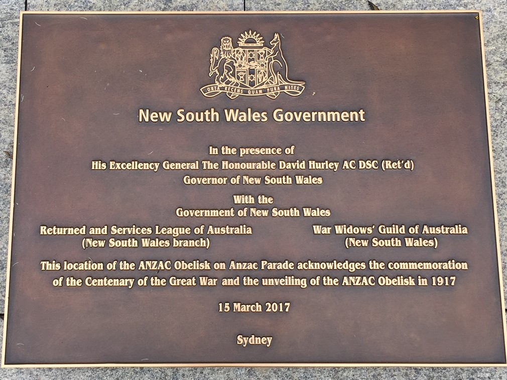 NSW Government dedication plaque