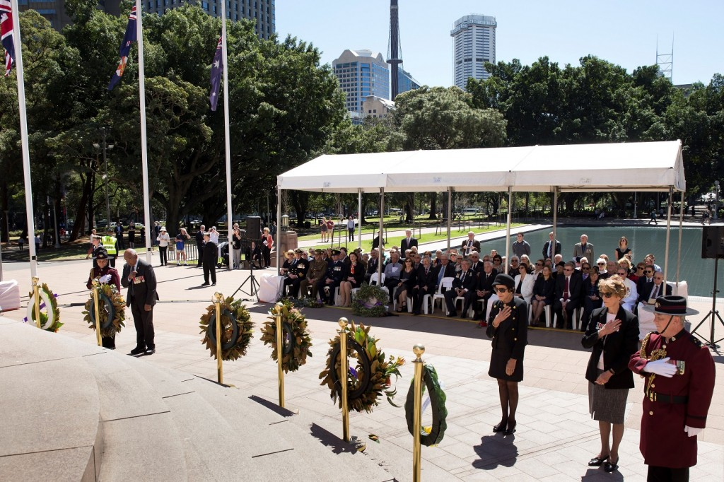 ANZ_YPRES_2017_253c Wreath laying - Harry Allie, The Hon Dame Marie Bashir and Diane Vogt War Widows Guild of Australia (NSW)