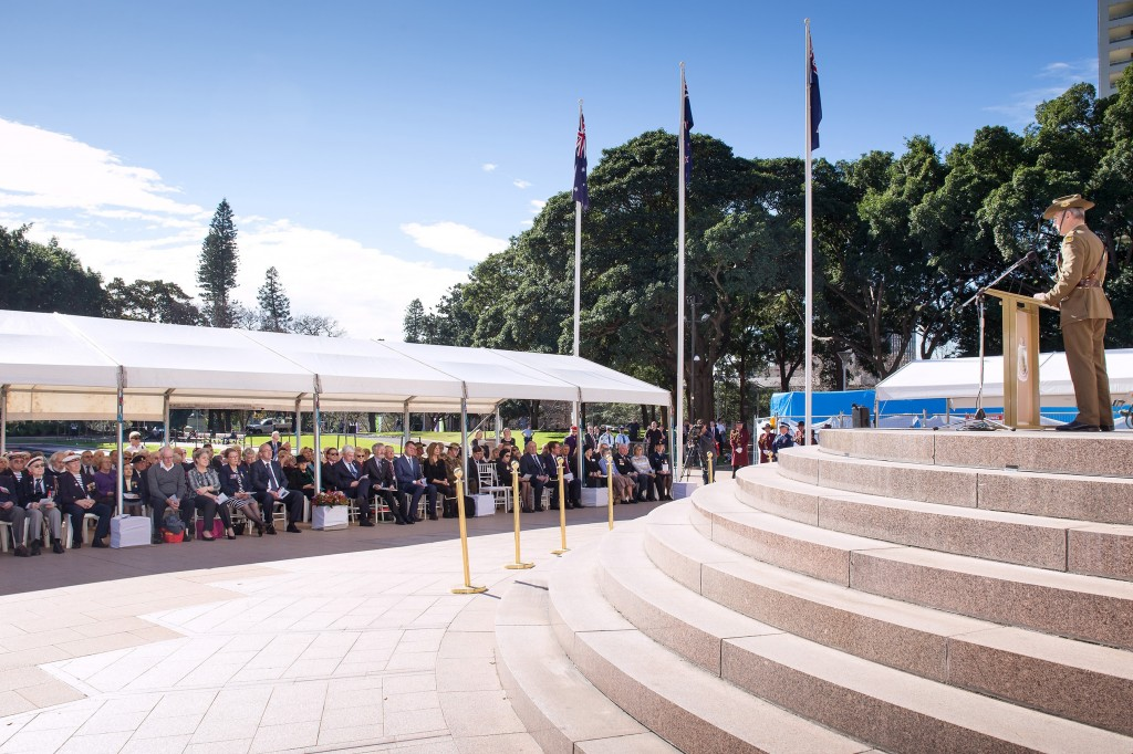 Major-General Gus Gilmore, AO, DSC of The Australian Army delivering the Commemorative Address