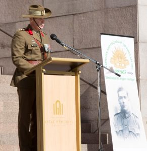 Brigadier Phil Moses, Commander 8th Brigade of The Australian Army delivering the Commemorative Address