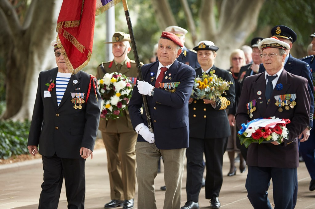 ANZ_Fromelles__2018_047 Procession approaching Anzac Memorial Army Brig Sweeney RAN Capt Amanda Garlick, RAAF Group Capt Peter Friend
