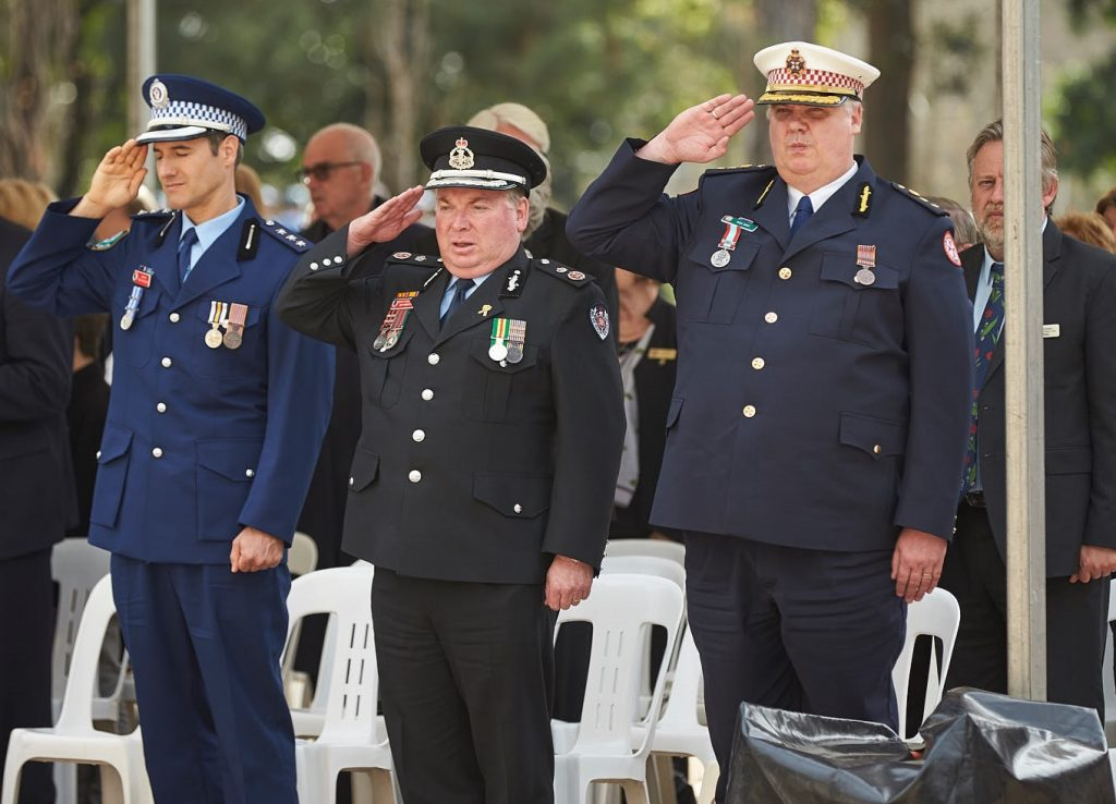 ANZ_Fromelles__2018_315 National Anthems Police Insp Rob Winkler, Fire & Rescue DepComm Jim Hamilton & Ambulance Supt Michael Bray