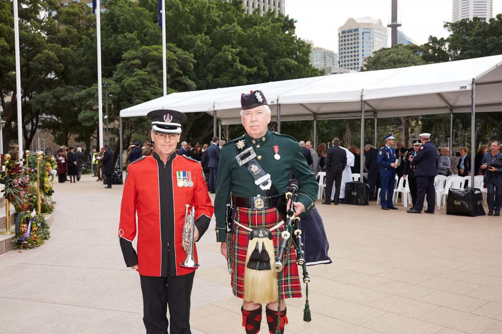 ANZ_Fromelles__2018_317 Bugler Terry McCleary with Piper Jim Braid