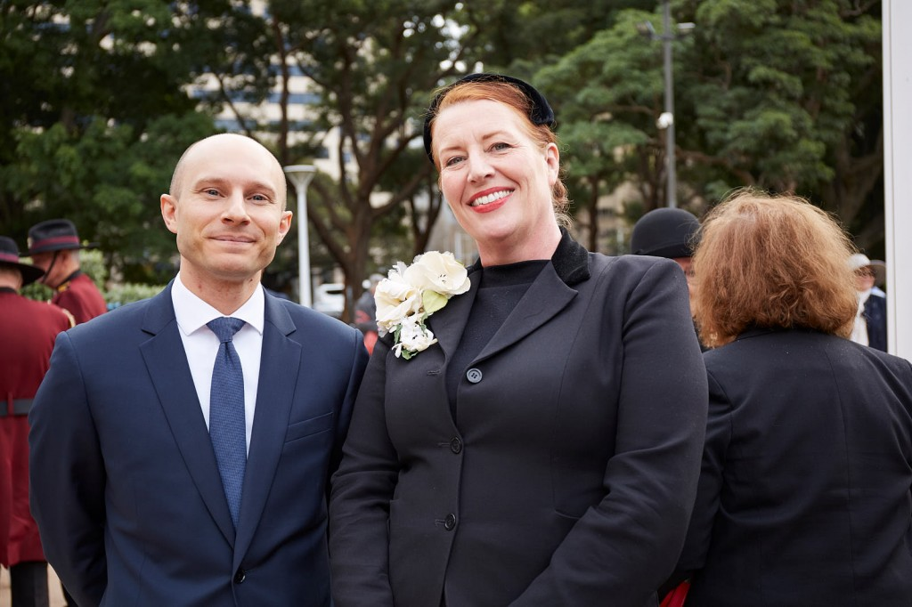 ANZ_Fromelles__2018_323 French Deputy Consul-General Pierre Bianconi with Belinda Mitrovich, Anzac Memorial Operations Manager